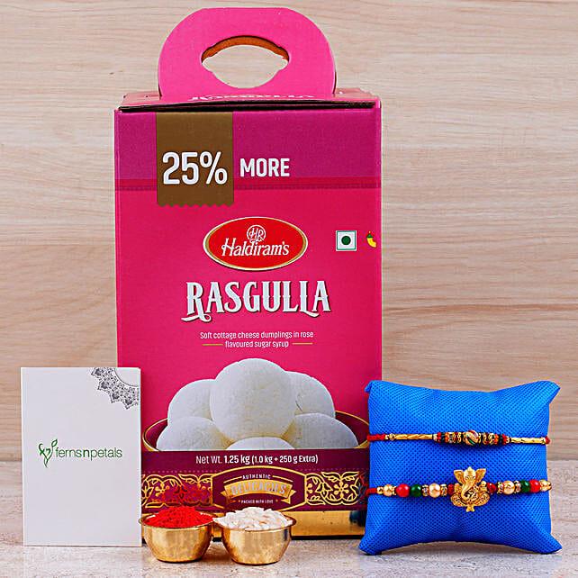 Combo Of 2 Rakhis And Rasgulla Tin: Rakhi Delivery in Singapore