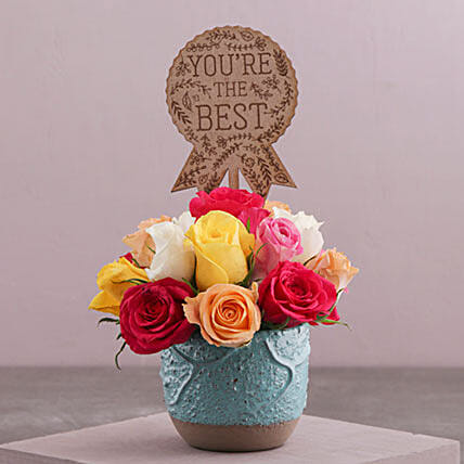 The Best Mixed Roses In A Turquoise Pot: Send mixed Flowers to South Africa