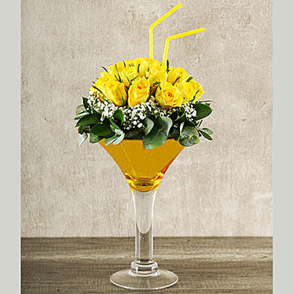 Elegant Yellow Rose Cocktail: Send Get Well Soon Gifts to South Africa