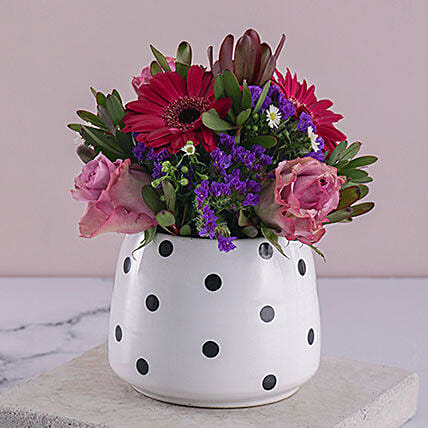 Lilac Florals In A Polka Pot: Send Valentines Day Roses to South Africa