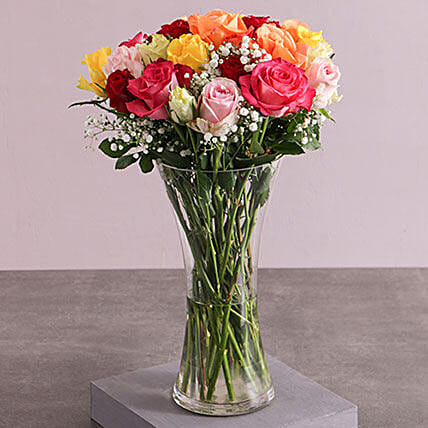 Mixed Roses And Million Stars In A Vase: