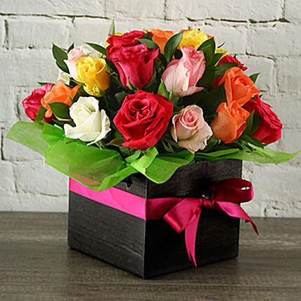 Mixed Roses In A Black Box:
