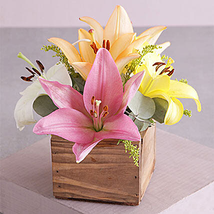 Wooden Variety Lily Blossoms: Send Mothers Day Gifts to South Africa