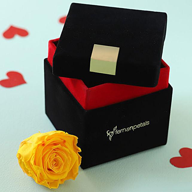 Sunny Yellow Forever Rose in Velvet Box: