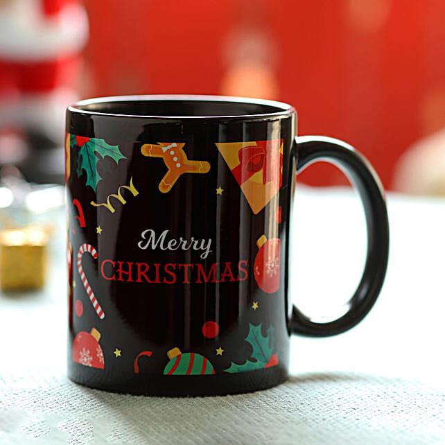 Merry Christmas Printed Black Mug: Christmas Gift Delivery in Sri-Lanka