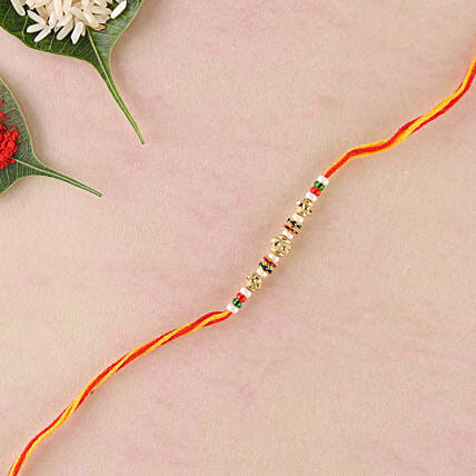Yellow Red Combination Thread Rakhi: Rakhi Delivery in Sweden