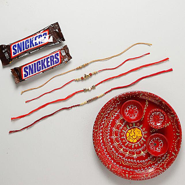 Rakhi Set with Pooja Thali Combo: Rakhi with Chocolates to Sweden