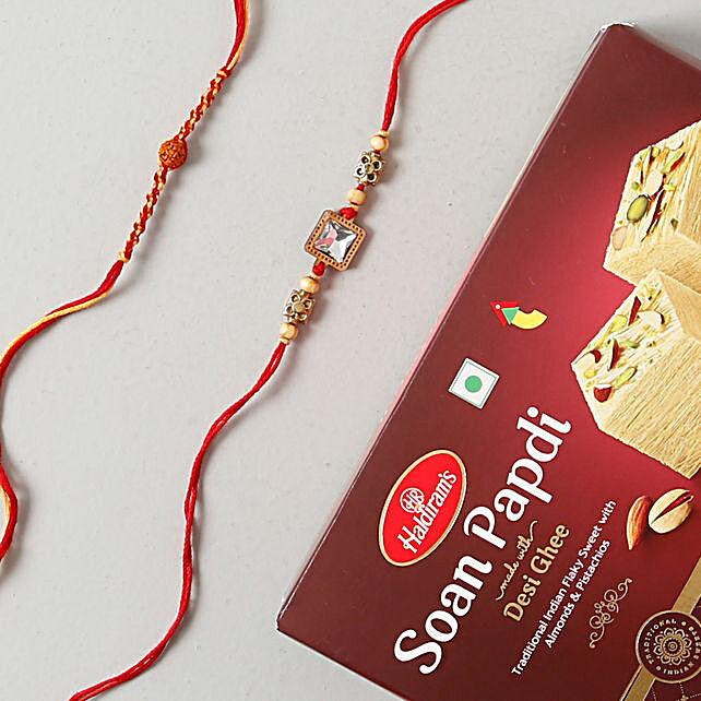 American Rakhi Set with Soan Papdi Sweet: Rakhi With Sweets to Sweden