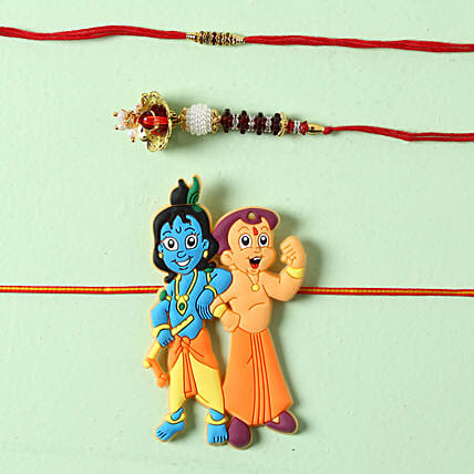 Bhaiya Bhabhi Krishna Rakhi Set: Set Of 3 Rakhi Delivery in Sweden
