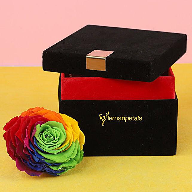 Forever Rainbow Rose in Black Velvet Box Big: Send Forever Roses to Swtzerland