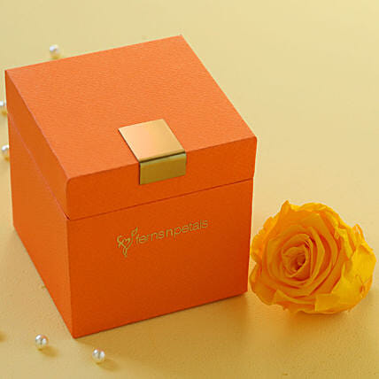 Sunny Yellow Forever Rose in Orange Box: Send Forever Roses to Thailand