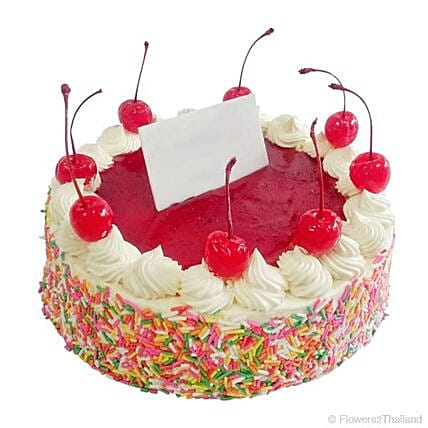 Exquisite Cherry Red Vanilla Cake: Send Valentines Day Cakes to Thailand