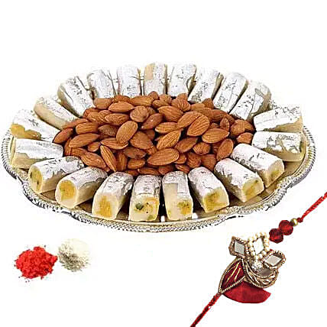 Rakhi with Kaju Roll n Almonds: Send Rakhi for Brother in UAE