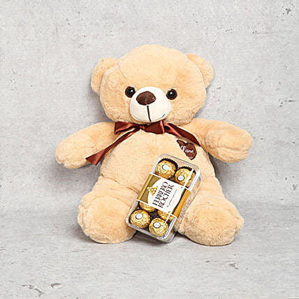 Coffee Brown Teddy Bear and Ferrero Rocher Chocolate Box: Gifts for Girls in UAE