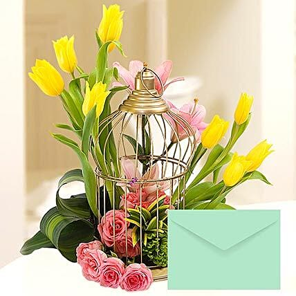 Floral Cage Arrangement With Greeting Card: Send Mothers Day Greeting Cards to UAE