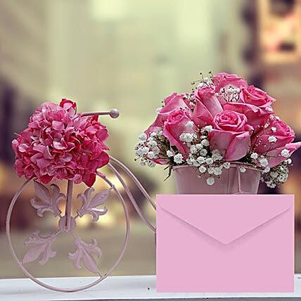 Floral Cycle Arrangement With Greeting Card: Mother's Day Flower with Greeting Cards to UAE