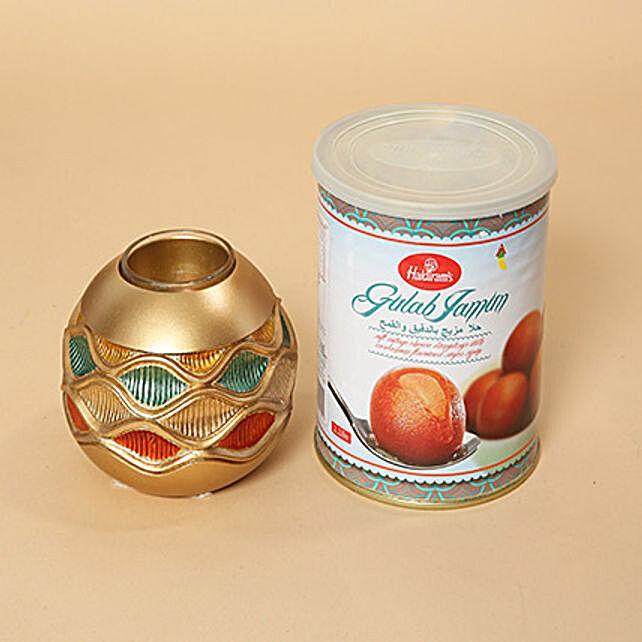 Gulab Jamun and Golden Diya Combo: Diwali Sweets to Dubai