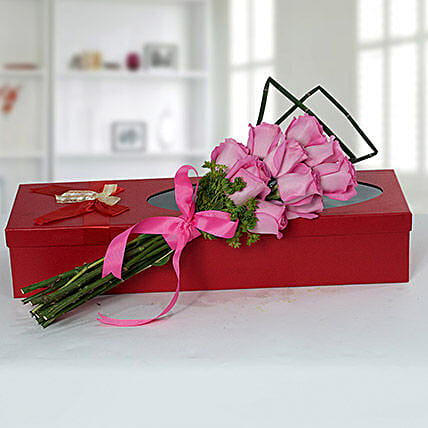 Mesmeric Pink Roses Bouquet: Valentine's Day Gifts for Her to UAE