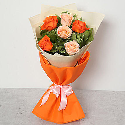 Orange and Peach Roses Bouquet: Send Birthday Flowers to UAE