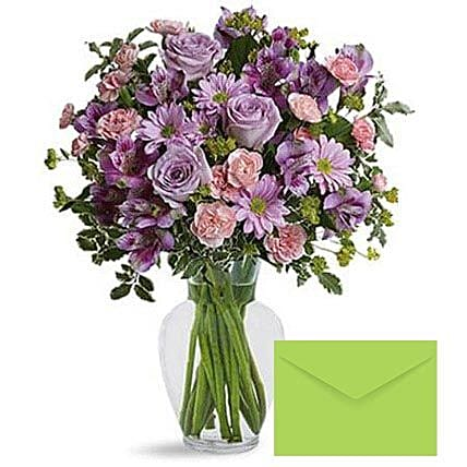 Ornamental Flowers With Greeting Card: Send Mothers Day Greeting Cards to UAE