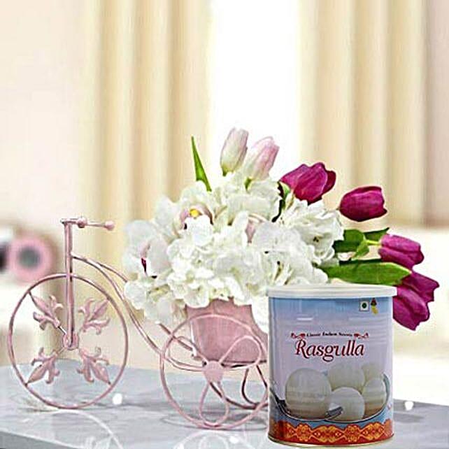 Refreshing Flowers Arrangement and Rasgulla Combo: Send Birthday Sweets to UAE