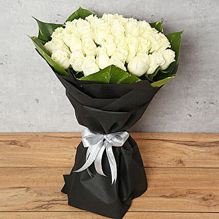 White Roses Bouquet: Send Rose Day Gifts to UAE