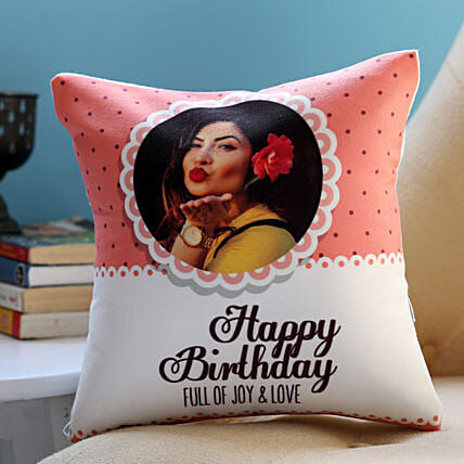 Personalised Joy and Love Birthday Cushion: Birthday Gifts Sharjah