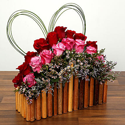 Red and Purple Roses In A Wooden Base: Send Valentines Day Roses to UAE