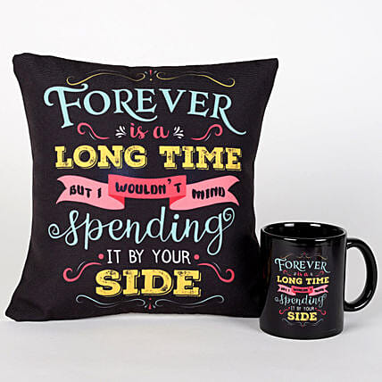 Forever By Your Side Printed Cushion and Mug Combo: Send Kiss Day Gifts to UAE