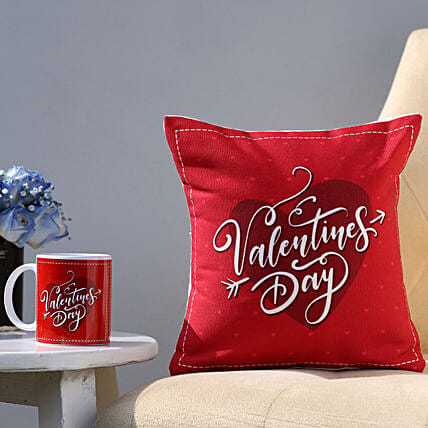 Valentines Day Special Printed Cushion and Mug Combo: