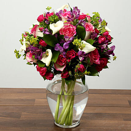 Roses Lilies and Alstroemeria Flower Arrangement: Send Mothers Day Gifts to UAE