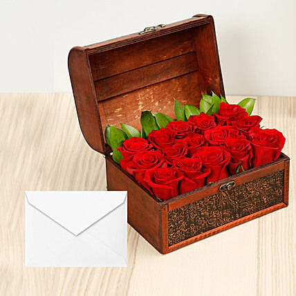 Red Roses Treasured Box With Greeting Card: Mother's Day Flower with Greeting Cards to UAE
