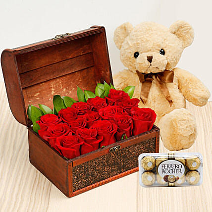 Treasure Hunt Combo: Mother's Day Flower and Teddy Bears to UAE
