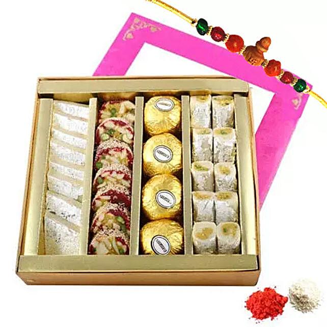 Rakhi with Mixed Sweets Box: Rakhi With Sweets to UAE