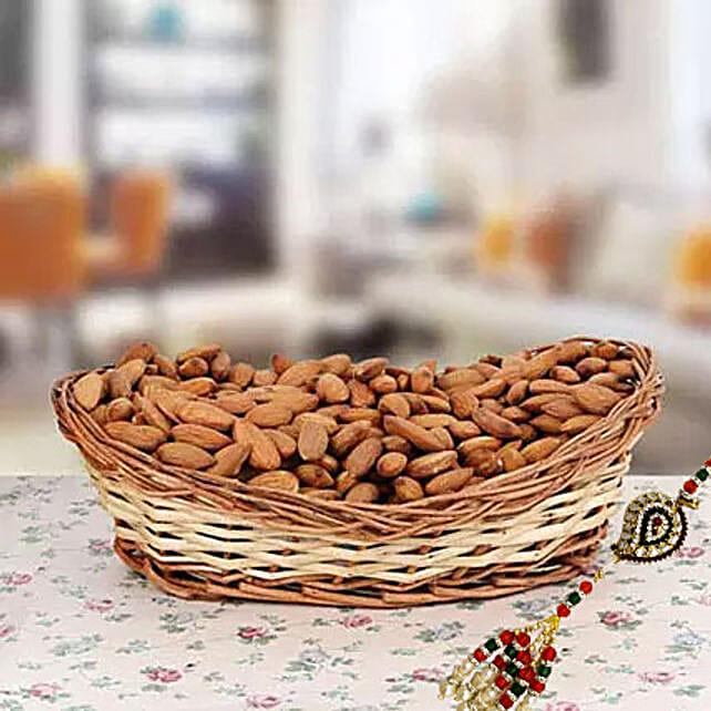 500gms Almonds with Rakhi: Rakhi With Dry fruit Hampers