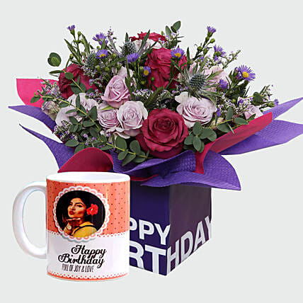 Birthday Special Flowers and Personalised Mug: Personalised Gifts to UAE