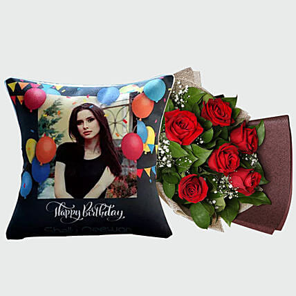 Red Rose Bouquet and Personalised Cushion: Personalized Gifts Dubai UAE