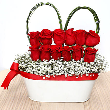 Decorative Red Roses Pot: Send Rose Day Gifts to UAE