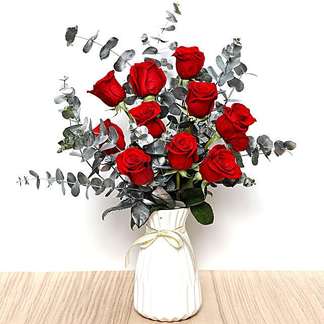 Ravishing Red Roses In Ceramic Pot: Valentine's Day Gift Delivery in UAE
