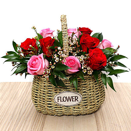Red and Pink Roses Mini Basket: Send Valentines Day Gifts to UAE