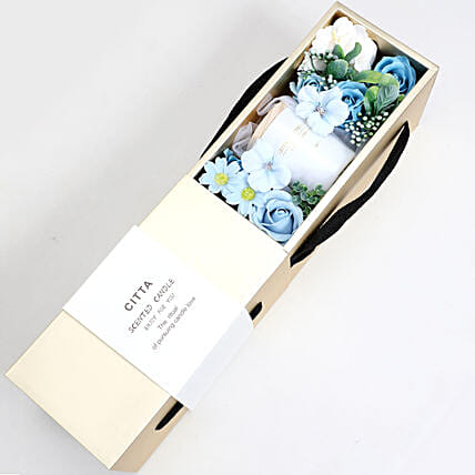 Candle and Artificial Flowers Blue and White: New Arrival Gifts to UAE