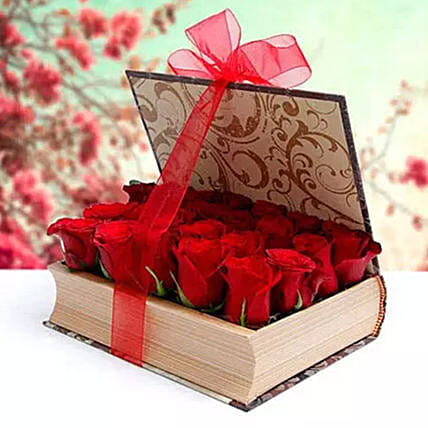 Book Shape Roses Arrangement: Send Valentines Day Gifts to Sharjah