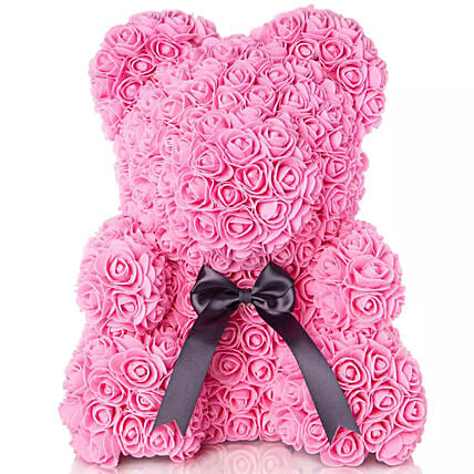 Pink Artificial Roses Teddy: Send Valentines Day Gifts to Sharjah
