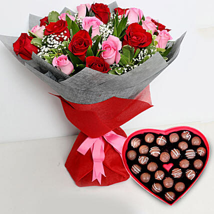 Pink and Red Roses Bouquet with Heartshape Chocolates: Gifts for Him in UAE