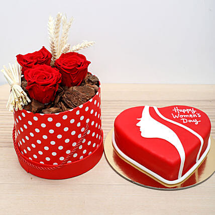 Forever Roses and Red Velvet Cake Combo: Send Womens Day Gifts to UAE
