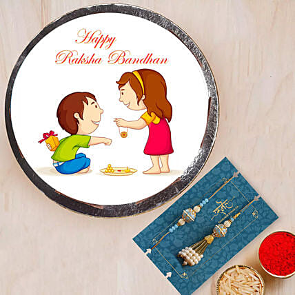 Happy Rakshabandhan Cake with Lumba Set: Send Rakhi to Dubai