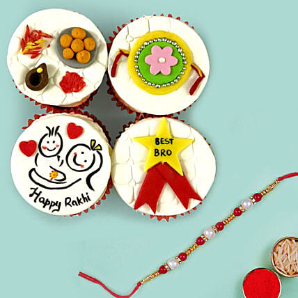 Red Pearl Rakhi and Cup Cakes: Send Rakhi to Dubai