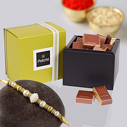 Golden Pearl Rakhi and Patchi Chocolates: Send Rakhi to UAE