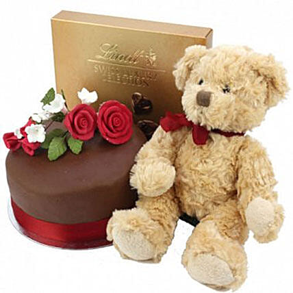 Chocolate Rose Cake With Bear And Lindt Cakes Delivery London