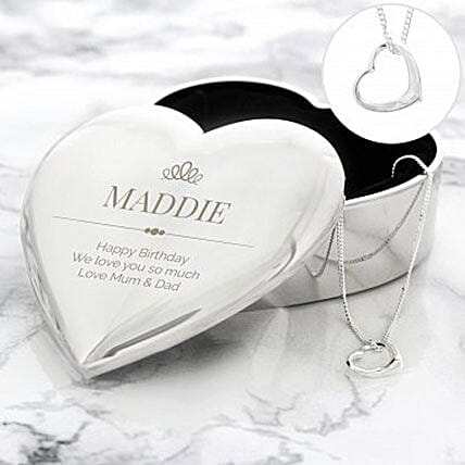 Personalized Trinket Box And Necklace Set Send Gift To London Gifts Delivery In Ferns N Petals